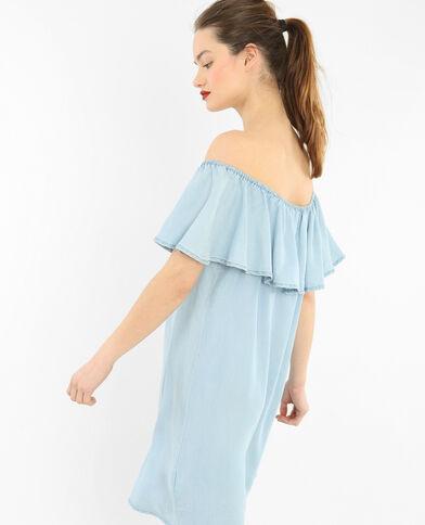 Vestido volante escote bardot azul claro