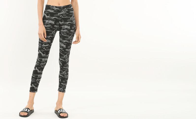 Leggings da running stampato grigio chiné