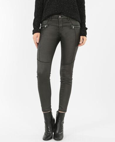 Skinny spalmato con zip nero