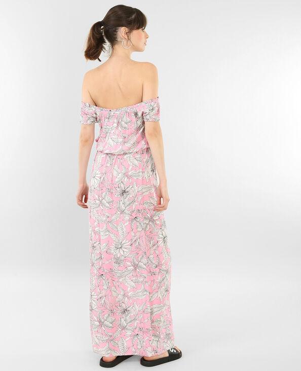 Lange jurk met bardothals roze