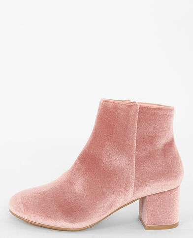 Boots velours rose