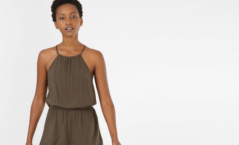 Kombi-Shorts aus weich fließendem Material. Khaki