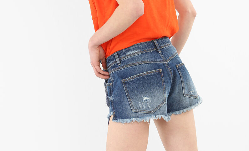 Mini short en jean bandana bleu