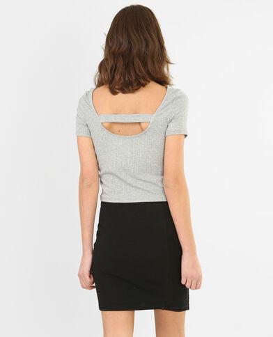 T-shirt cropped côtelé gris chiné