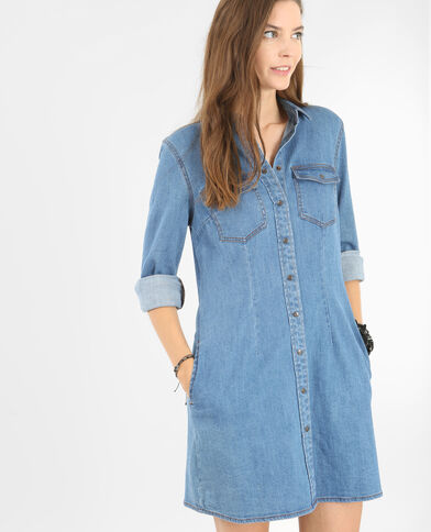 Skater-Kleid aus Denim Blau