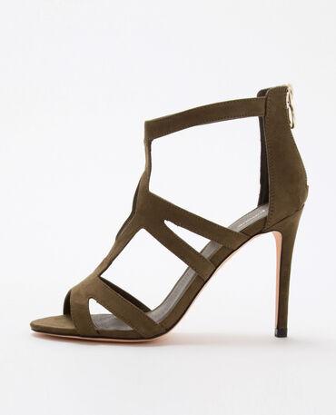 Sandales vertes à talons vert