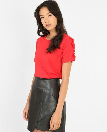 T-shirt à volants rouge