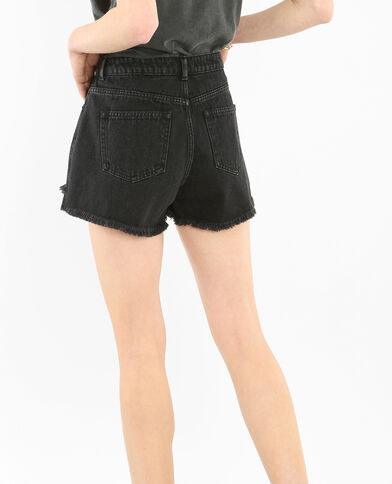 Short denim effiloché noir