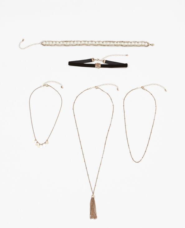 5er-Set Halsketten Gold