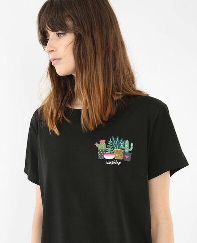 T-Shirt bestickt mit Kaktus-Motiv Schwarz