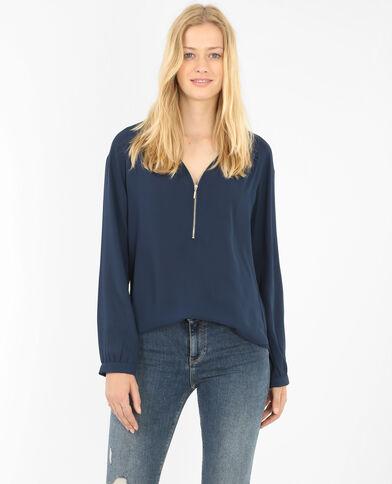 Blusa con cremallera azul eléctrico