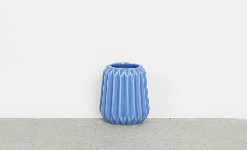 Jarrón pequeño de cerámica azul lavado