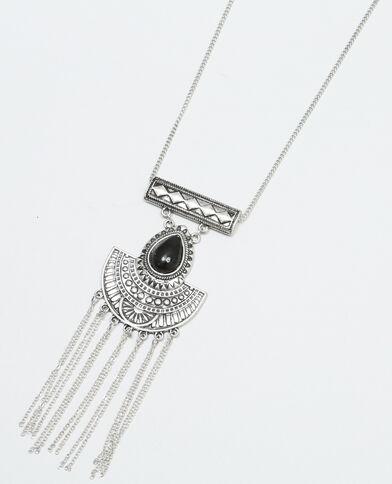 Lange etnische halsketting zilvergrijs