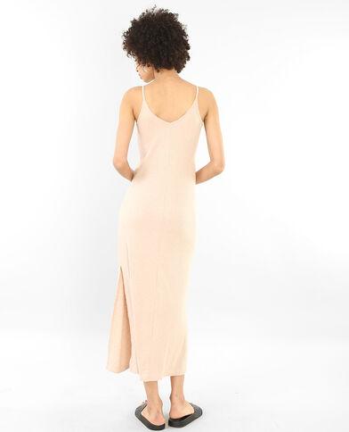 Lange geribbelde jurk bleekroze