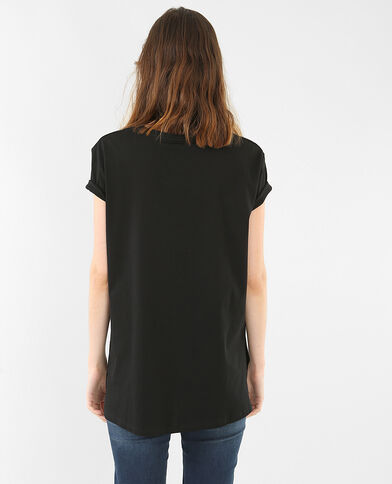 T-shirt lunga basic nero