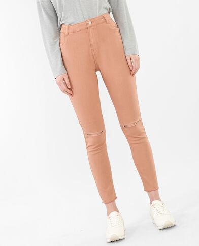 Skinny-Jeans Raw-Cut Kastanienbraun