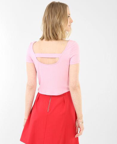 Camiseta crop acanalada rosa