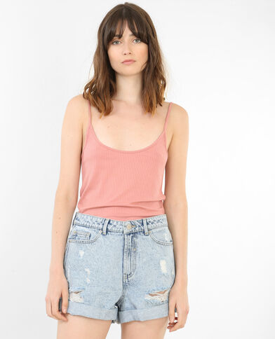 Cropped-Top, gerippt Rosa