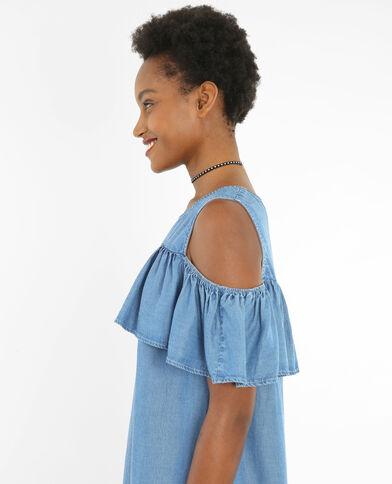 Rüschenkleid mit Peekaboo-Ärmeln Blau