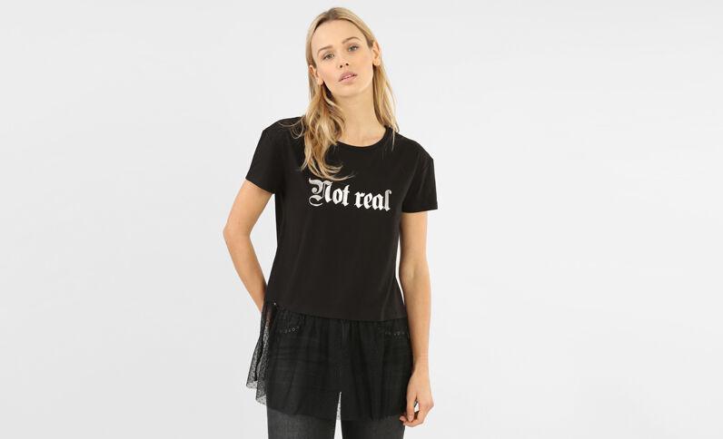 T-shirt bordo tulle nero