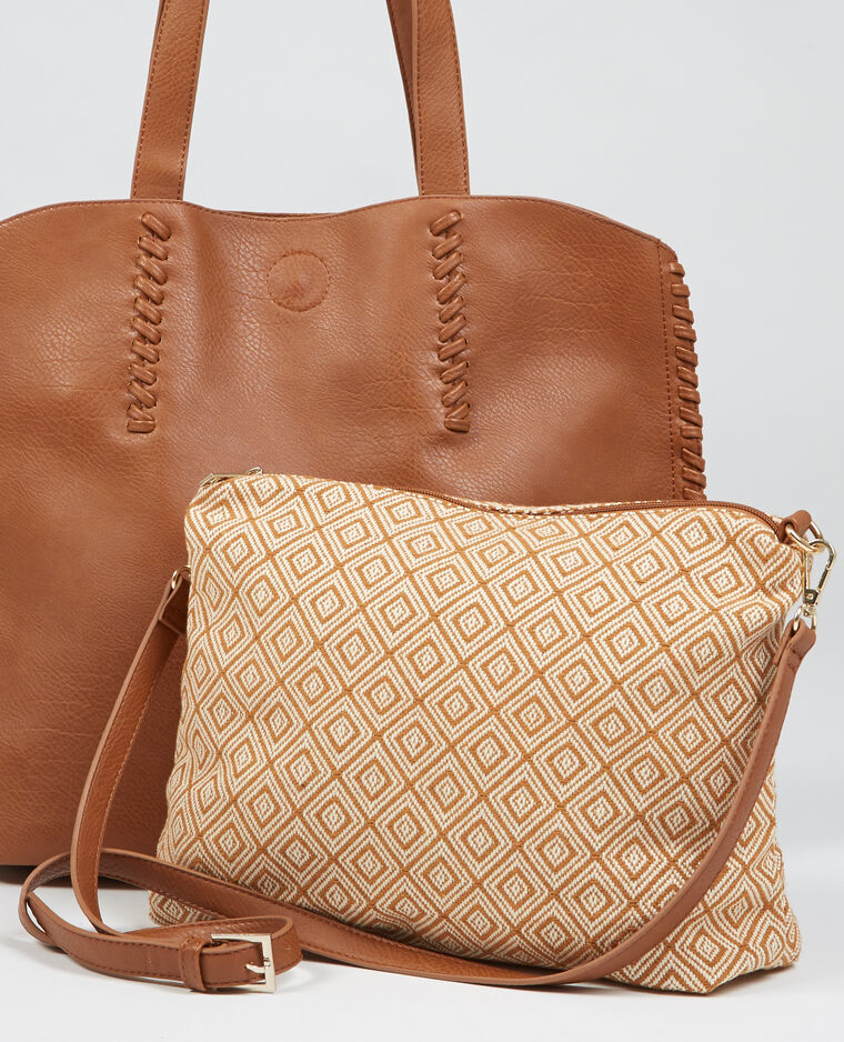 sac cabas avec pochette caramel 983111721a07 pimkie. Black Bedroom Furniture Sets. Home Design Ideas