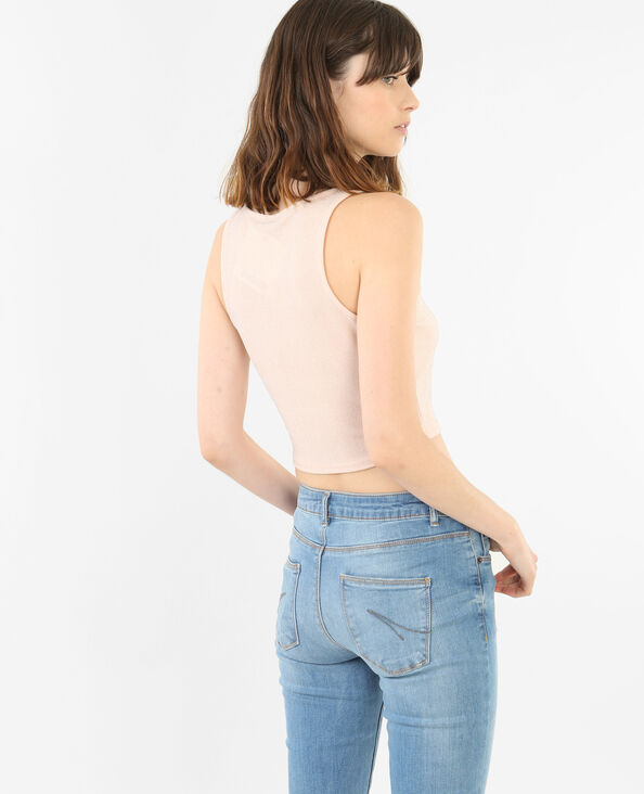 Cropped-Top mit Pailletten Bronze