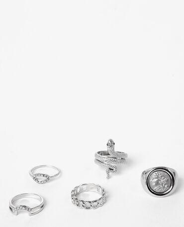 Lote de anillos plateados gris brillante