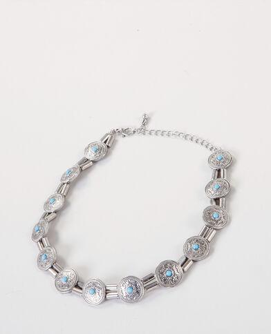 Choker-Halsband im Ethno-Stil Silberig
