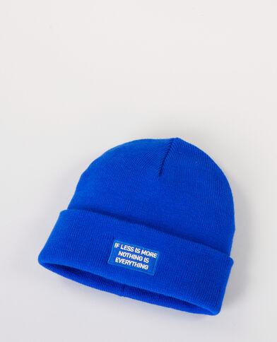Mütze mit Schriftzug Metallic-Blau