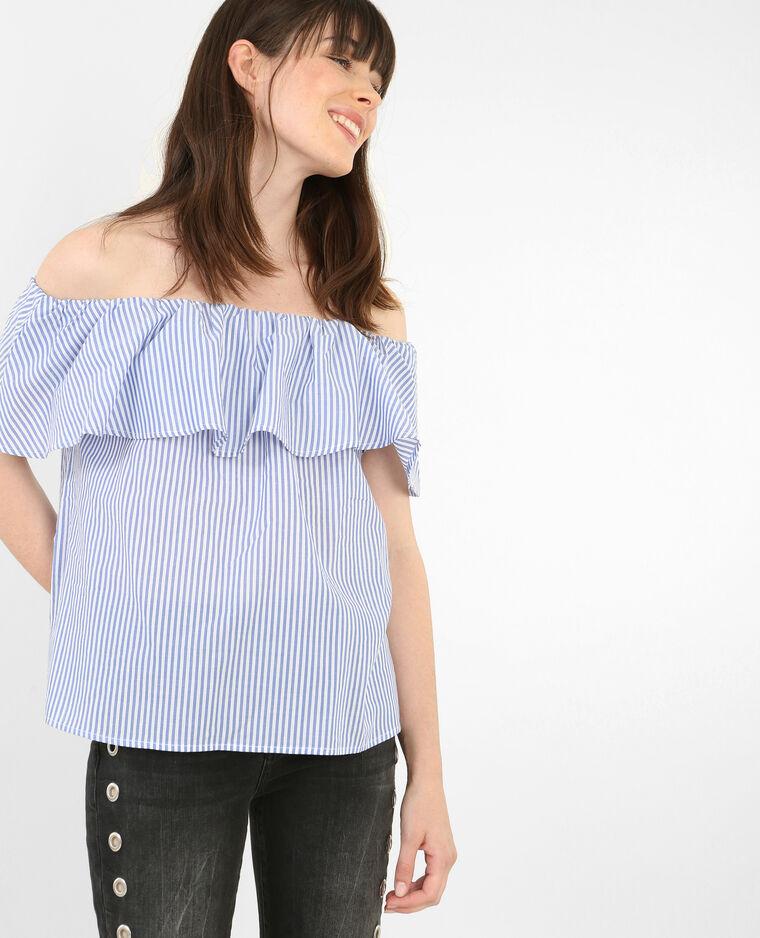 gestreifte bardot bluse mit r schen wei 561493900c06. Black Bedroom Furniture Sets. Home Design Ideas