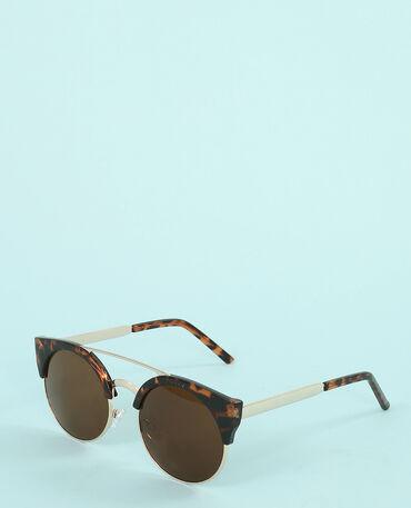 Sonnenbrille mit Steg und Querstab. Kastanienbraun