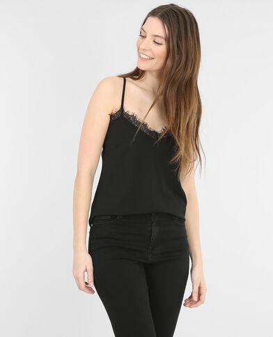 Camiseta de tirantes con encaje negro