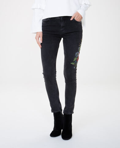 Skinny Jeans, bestickt Schwarz