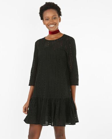 Peplum-Kleid aus Gipürespitze Schwarz