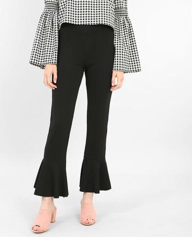 Pantalone con volant in basso nero