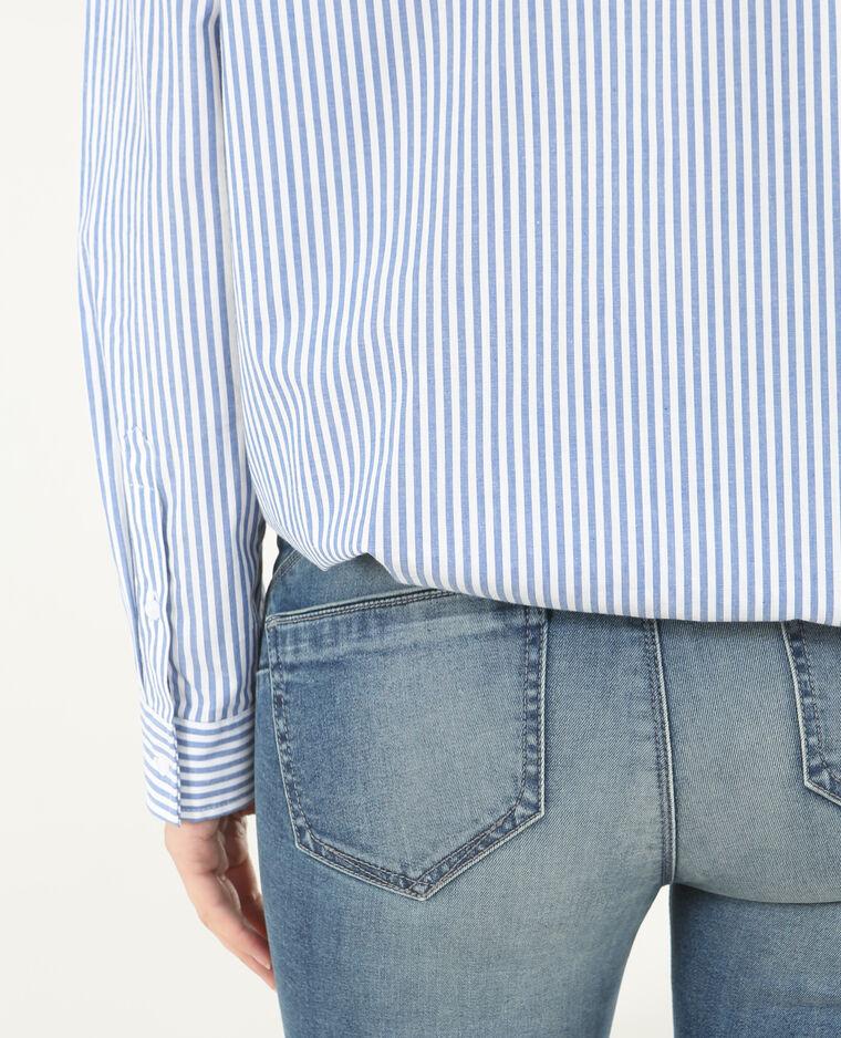 Gestreiftes Hemd mit Patches Marineblau