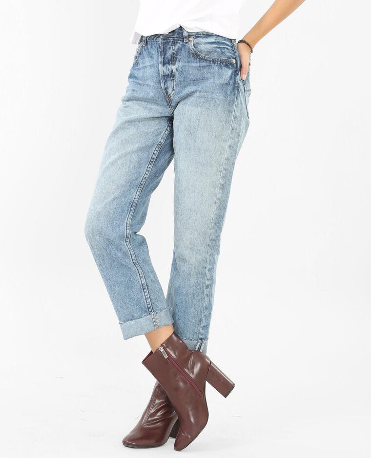 Jean large taille haute bleu denim