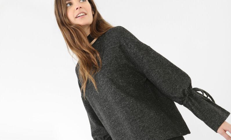 Weicher Pullover mit Pagoden-Ärmeln Grau