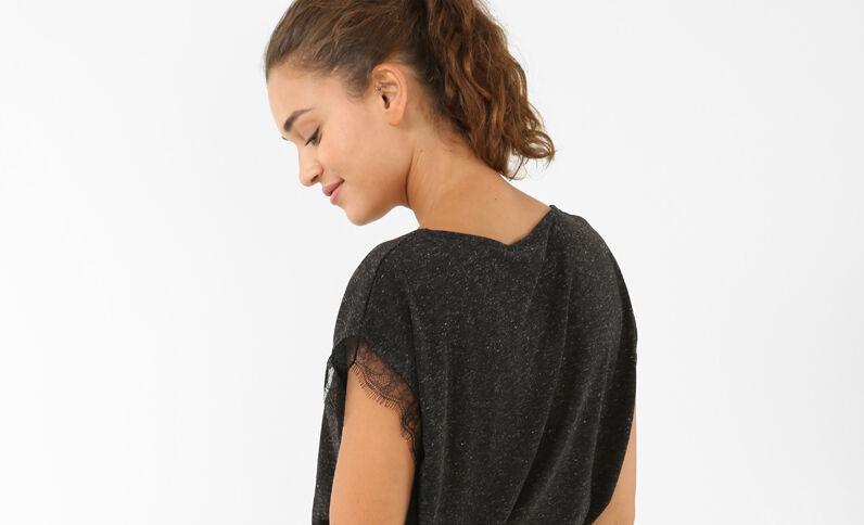 Camiseta de encaje gris jaspeado