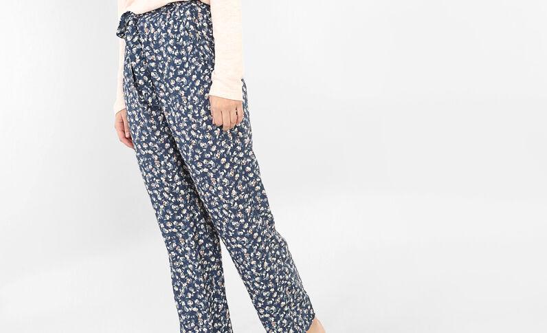Bas de pyjama fleuri bleu indigo