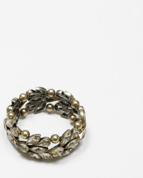 Pulsera con cristales y perlas dorado