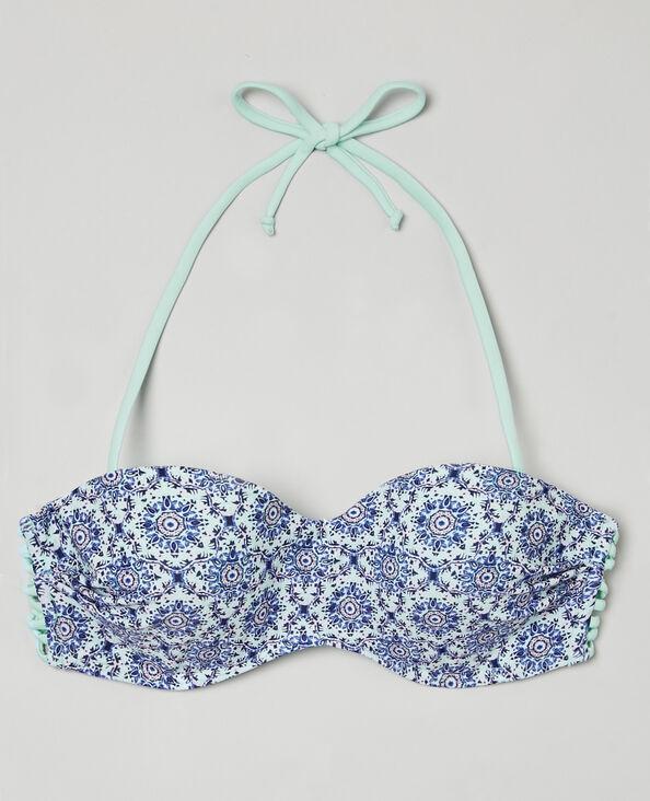 Bikinioberteil mit Mosaik-Motiv Blau