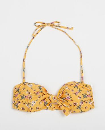 Haut de bikini fleuri jaune