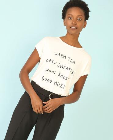 T-Shirt mit Schriftzug Altweiß