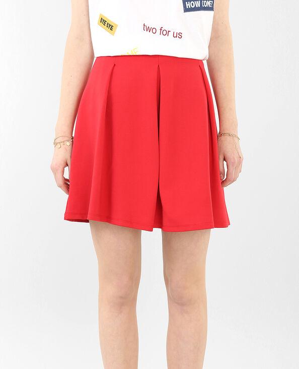 Jupe patineuse à plis rouge