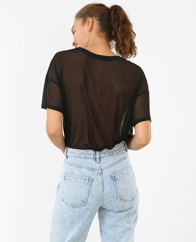 Netz-T-Shirt Schwarz
