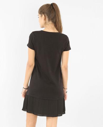 Kleid mit plissiertem Rockteil Schwarz