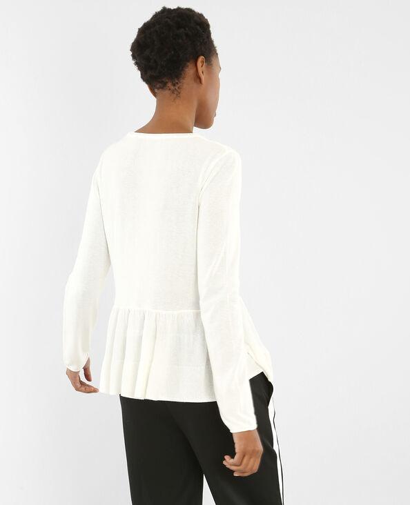 Fijne trui met pand gebroken wit