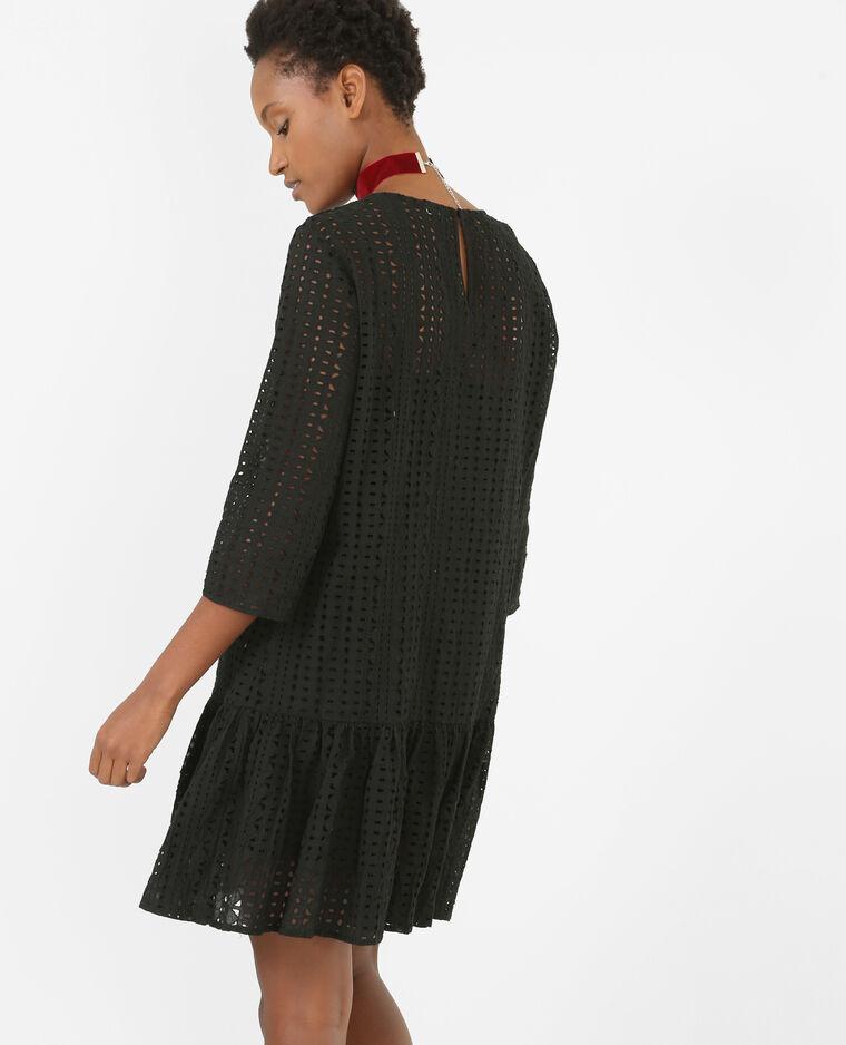 Robe guipure à basque noir