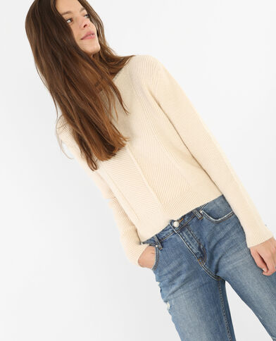 Pull cropped bianco sporco